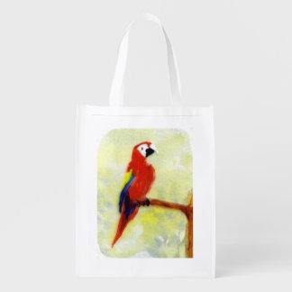 Colorful Bird Macaw Reusable Grocery Bag