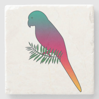 Colorful Bird on a Branch Marble Stone Coaster