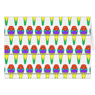 Colorful Bird Pattern. Gouldian Finch. Card