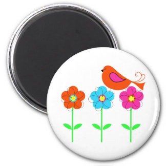 colorful bird with colorful flowers 2 inch round magnet
