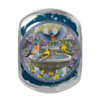 Colorful Birds and Bird Bath Flower Garden