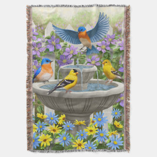 Colorful Birds and Bird Bath Flower Garden Throw Blanket