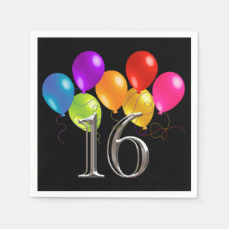Colorful Birthday Balloons 16 Disposable Napkins