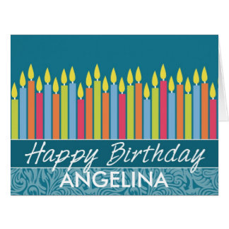 Colorful Birthday Candles with Custom Name Big Greeting Card
