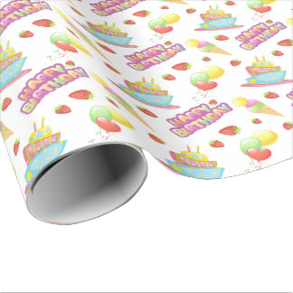 Colorful Birthday Sweets Wrapping Paper