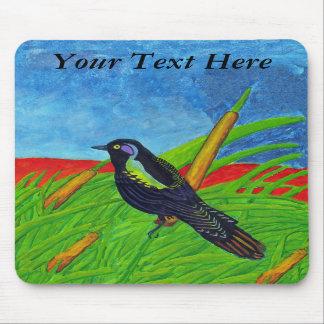 Colorful Black Bird Mousepad