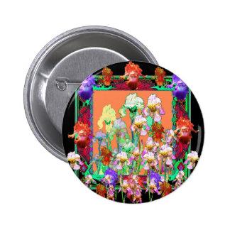 Colorful Black Iris Garden Art design by sharles 2 Inch Round Button