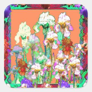Colorful Black Iris Garden Art design by sharles Square Sticker