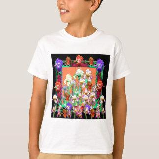 Colorful Black Iris Garden Art design by sharles T-Shirt
