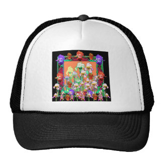 Colorful Black Iris Garden Art design by sharles Trucker Hat