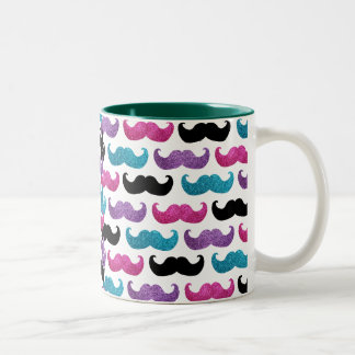 Colorful bling mustache pattern (Faux glitter) Two-Tone Coffee Mug