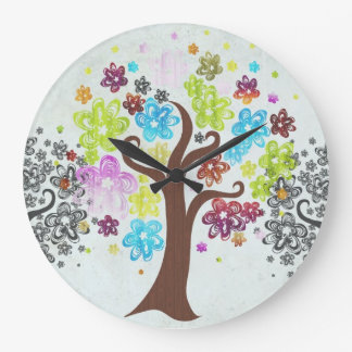 Colorful Blooming Trees Wall Clock