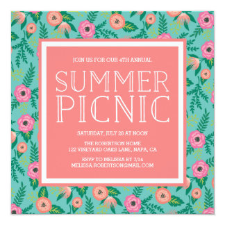 Colorful Blooms Summer Picnic Invitation