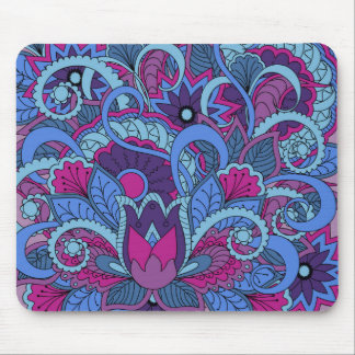 colorful blue abstract zen pattern with Lotus Mouse Pad