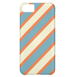 Colorful Blue and Orange Diagonal Stripes Pattern iPhone 5C Cases