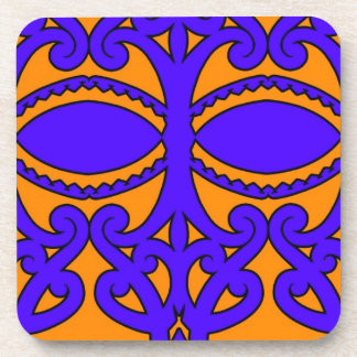 Colorful blue and orange tattoo patterns coaster