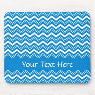 Colorful Blue and White Zigzags Mouse Pad