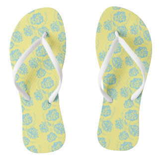 Colorful Blue and Yellow Floral Flip Flops