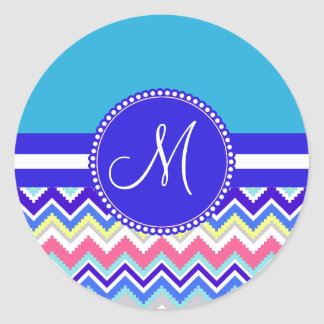 Colorful Blue Aztec Andes Chevron Zig Zags Classic Round Sticker