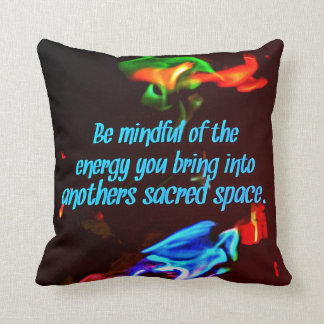 Colorful Blue Flames Of Energy Sacred Spaces Quote Throw Pillow