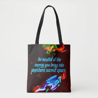 Colorful Blue Flames Of Energy Sacred Spaces Quote Tote Bag