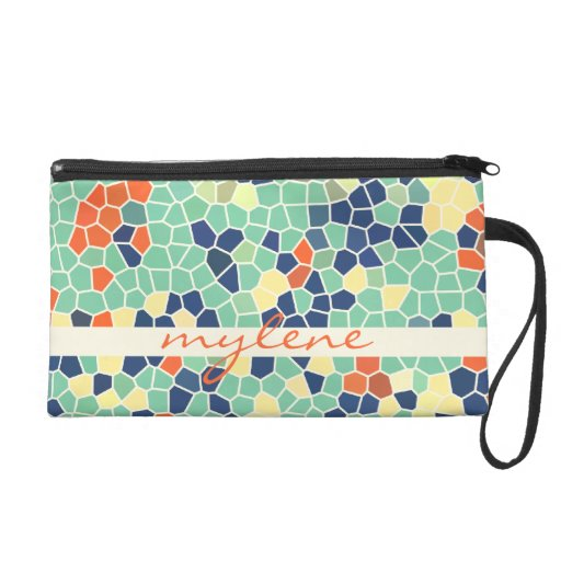 Colorful Blue Green Orange Abstract Funky Mosaic Wristlet Purses