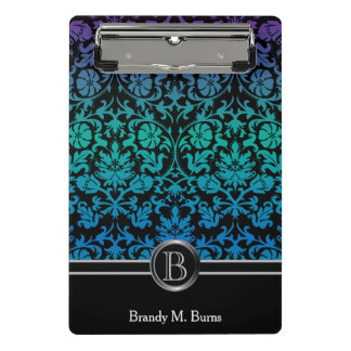 Colorful Blue, Green & Purple Floral Damask Mini Clipboard