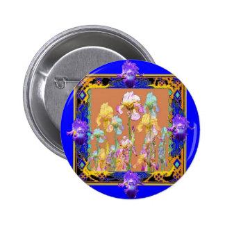 Colorful Blue Iris Garden by Sharles 2 Inch Round Button