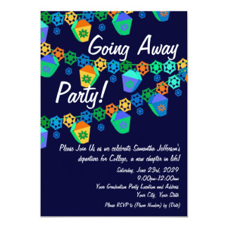 Colorful Blue Lanterns Going Away Party Invitation