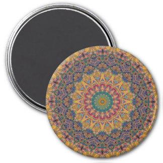 Colorful Blue, Maroon, Yellow Mandala Kaleidoscope Magnet