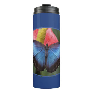Colorful Blue Morpho Butterfly Thermal Tumbler