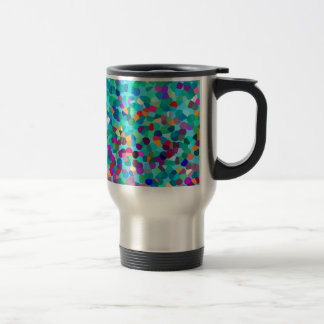 Colorful Blue Multicolored Abstract Art Pattern Travel Mug