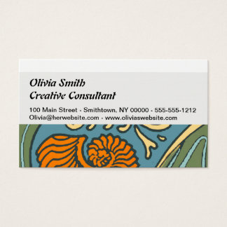 Colorful Blue Ocean Waves Business Card
