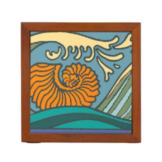 Colorful Blue Ocean Waves Desk Organizer