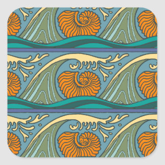 Colorful Blue Ocean Waves Square Sticker
