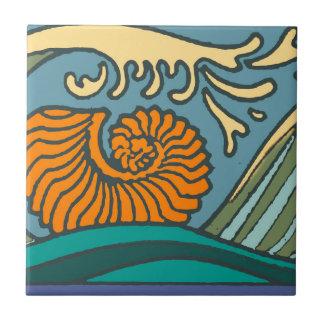 Colorful Blue Ocean Waves Tile