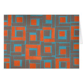 Colorful blue orange squares design card