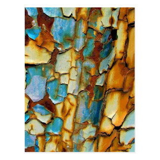 Colorful Blue Peeling and Rusting Paint Urbex Postcard