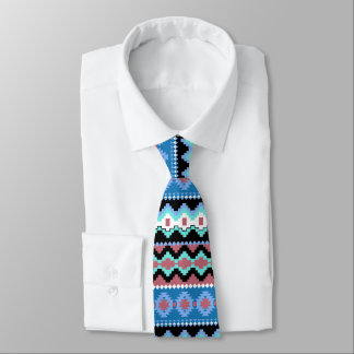 Colorful Blue Tribal Pattern Neck Tie