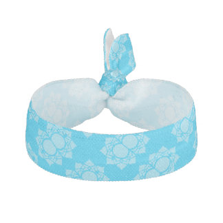 Colorful Blue White Lotus Pattern Hair Tie