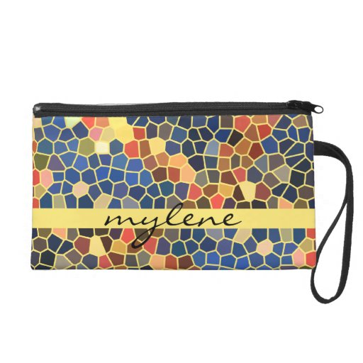 Colorful Blue Yellow Orange Abstract Funky Mosaic Wristlet Purse
