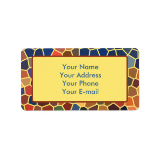 Colorful Blue Yellow Orange Abstract Funky Mosaic Label