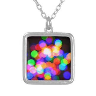 Colorful blurred lights silver plated necklace