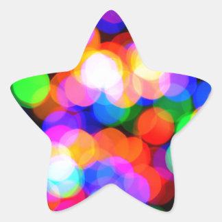 Colorful blurred lights star sticker
