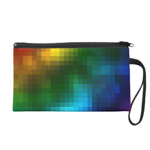 Colorful Blurry Pixels Wristlet Clutches