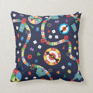 Colorful Board Game Pattern Throw Pillow