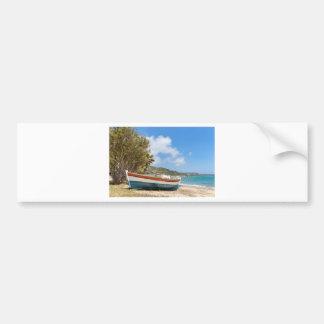 Colorful boat lying on greek beach bumper sticker