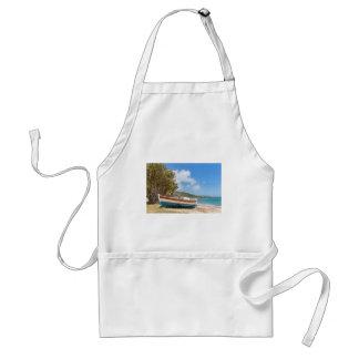 Colorful boat lying on greek beach standard apron