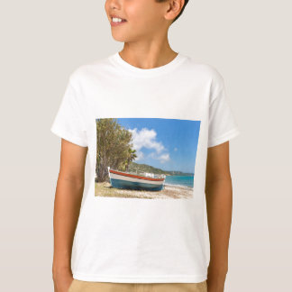 Colorful boat lying on greek beach T-Shirt