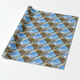 Colorful boat lying on greek beach wrapping paper